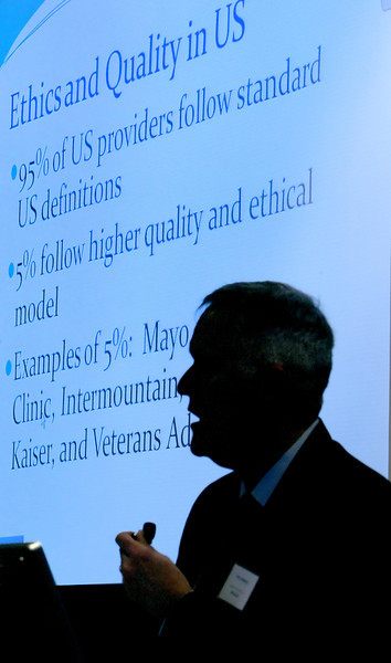 "Tom Emerick, of Emerick Consulting LLC, gives his presentation at  ""A Unique 2012 Health Care Seminar"" in Tulsa Friday."