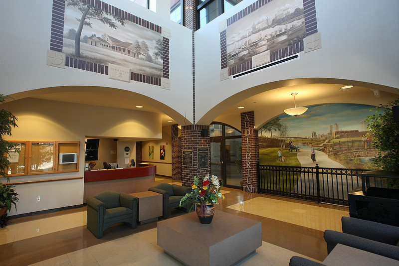 The lobby of the Central Center at Centennial Park near downtown Tulsa.