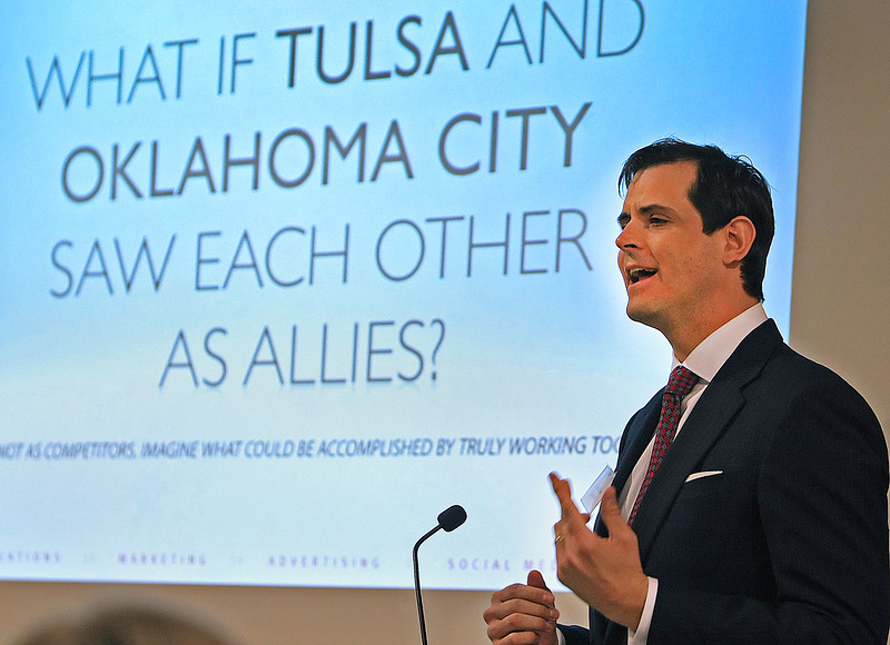 Renzi Stone, chairman and CEO of Saxum PR, speaks to the Association of Women in Communications Wednesday in Tulsa.