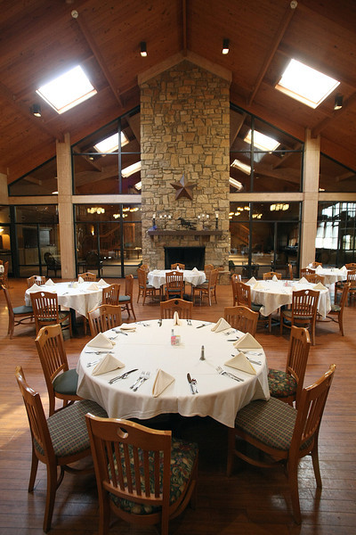 The dining room at the Post Oak Lodge in Tulsa.