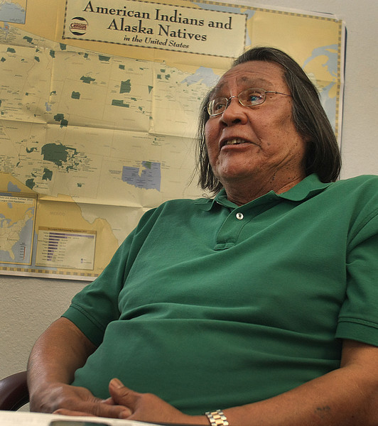 Tiger Hobia, Mekko (King) of the Kialegee Indain Tribe, at his office in Wetumka.