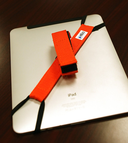 The tablet strap 360 by the Tulsa based HELO company.