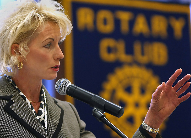 Oklahoma Corporation Commissioner Dana Murphy speaks at the Claremore Rotary Club Tuesday.