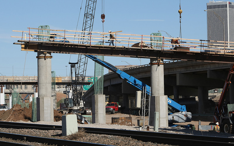 Construction on the I-244 bridges spanning the Arkansas river near downtown Tulsa.