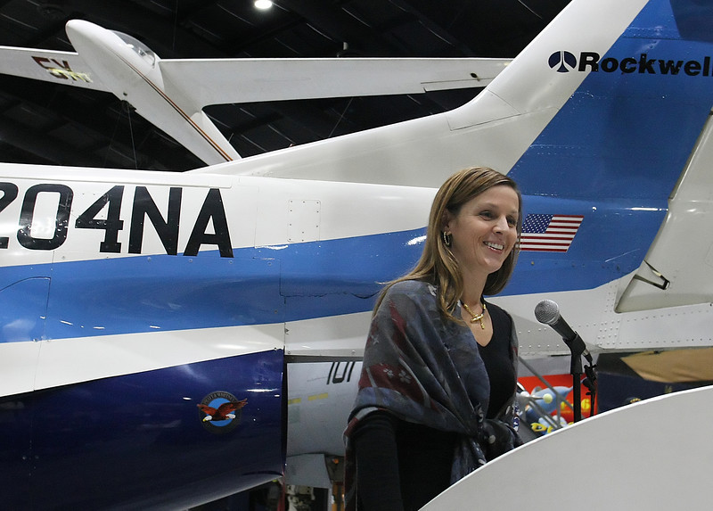 Meredith Siegfried, Chief Executive Officer of NORDAM Group speaks at a Press conference at the Tulsa Air and Space Museum to help promote 2012 Aviator Ball. The event will be held April 28 at American Airlines' Hangar 80 at Tulsa International Airport.
