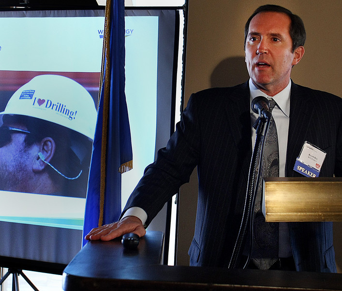 Ralph Hill, Chief Executive Officer of WPX Energy, gives his presentation at the Wildcatter Luncheon in Tulsa Wednesday.