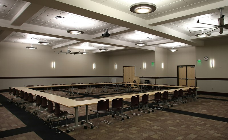 The large meeting hall at the Jenks Math and Sciences Center.