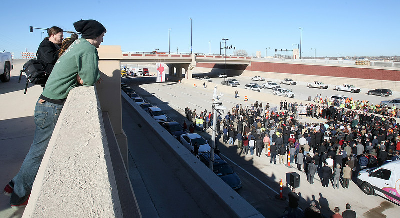 Crowd during the I-40 Crosstown Grand Opening ceremony Thursday.  PHOTO BY MAIKE SABOLICH