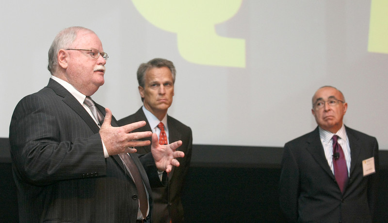 Randy Lacey, Mark Beffort and Louis Almaraz answer questions from the audience during the 2012 Forecast event at the Oklahom Museum of Art Tuesday morning. PHOTO BY MAIKE SABOLICH
