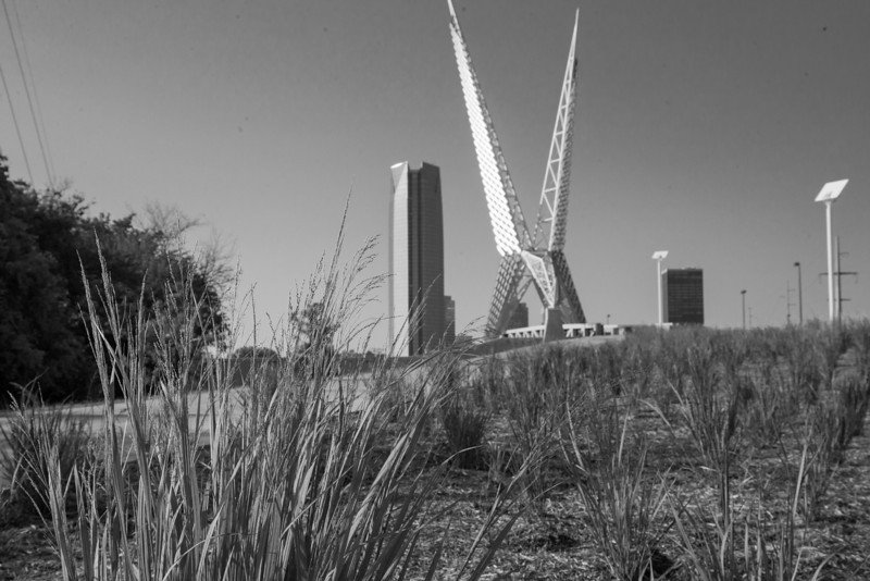 Skydance Bride is the completed portion of the future Central Park in downtown Oklahoma City. The bridge will link the northern and southern sections of the park by crossing over I-40.