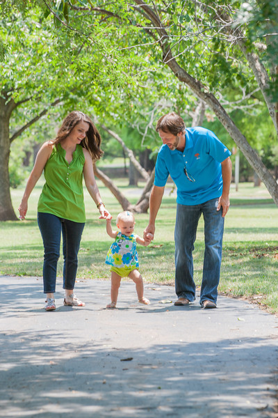 Jenny Atwell on a walk with her husband and daughter in the park.