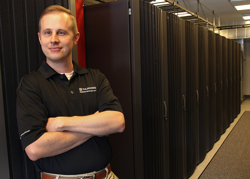 Mike Bacher in Tulsa Connect new server room in Tulsa.