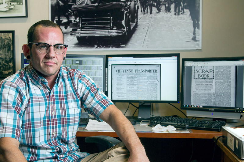 J.A. Pryse works as a digital archivest at the Oklahoma History Center. In addition to photos, videos and audio recordings Pryce is also involved in digitizing millions of pages of newspapers from around Oklahoma.