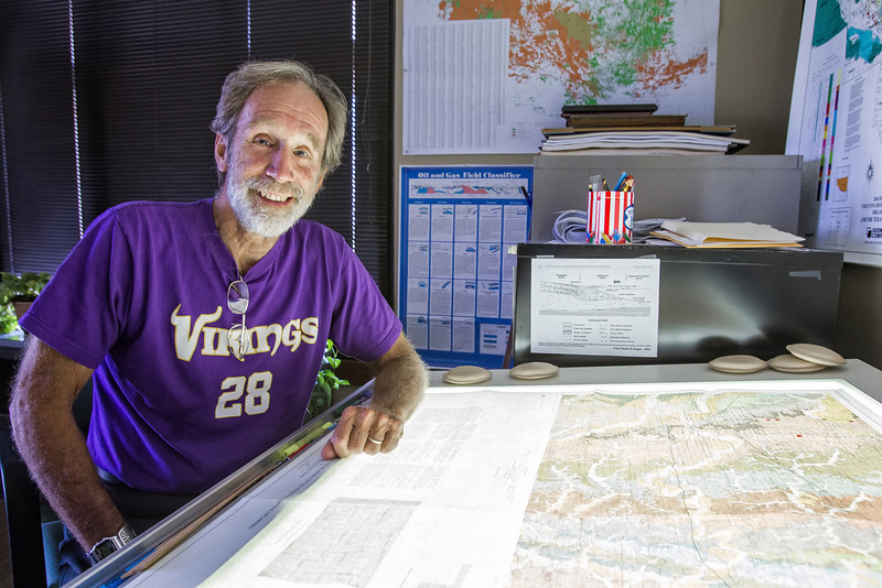 Neil Suneson with the Oklahoma Geological survay at his office on the OU campus.