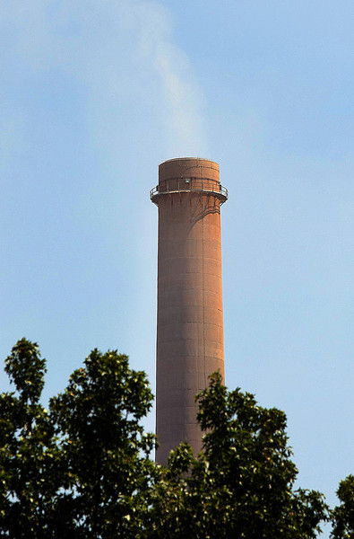 A smoke stack at the OG&E Power plant in Muskogee.