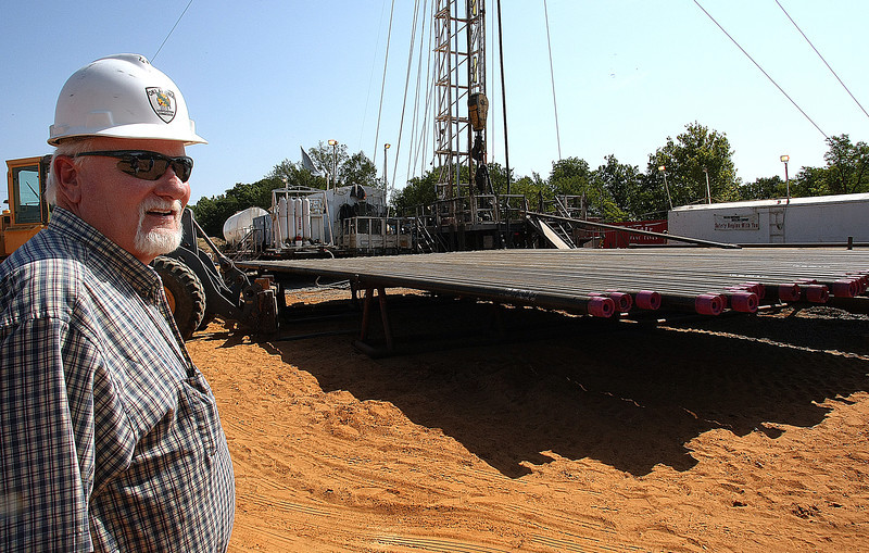 Jim Waite, Field Inspector for the State Corporation Commission, walks inspects a drilling rig in Creek County.