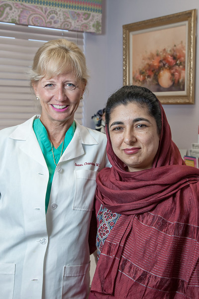 "Dr. Susan Chambers with Afgani doctor ""abc""."