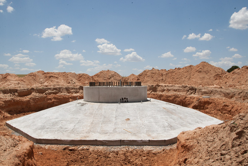 Construction of new wind turbines is under way in western Olahoma. Seen here is the foundation that will support the towering struction. The foundations are buried and not normally seen.