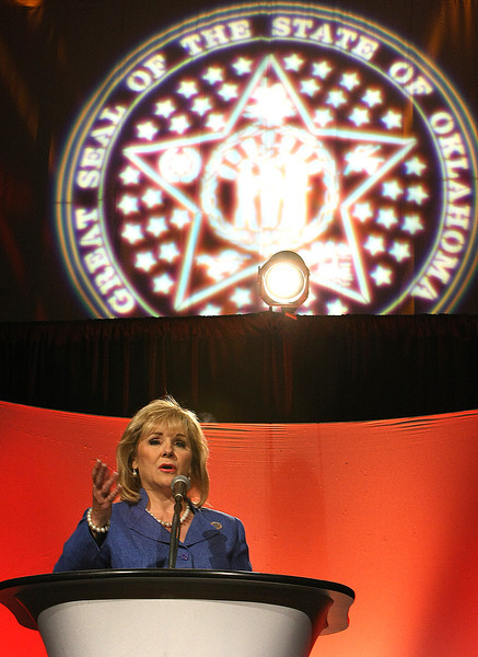 Governor Mary Fallin gives the State of the Sate address in Tulsa.