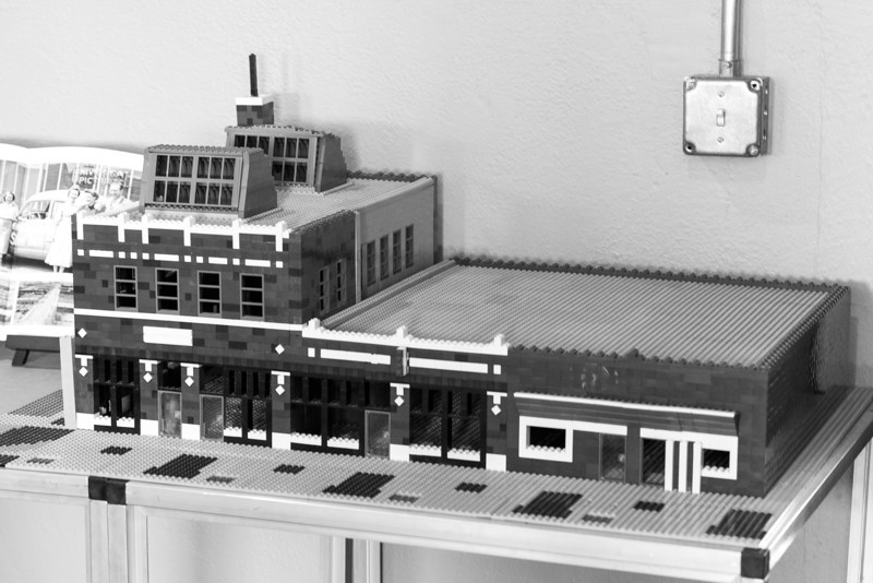 In the waiting room of VentureSpur sits a Lego model of the southwest corner of Sheridan and Lee.