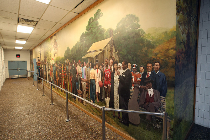 The mural at  the Lacy Park Community Center in North Tulsa that captures nearly 100 leading figures in African American history.