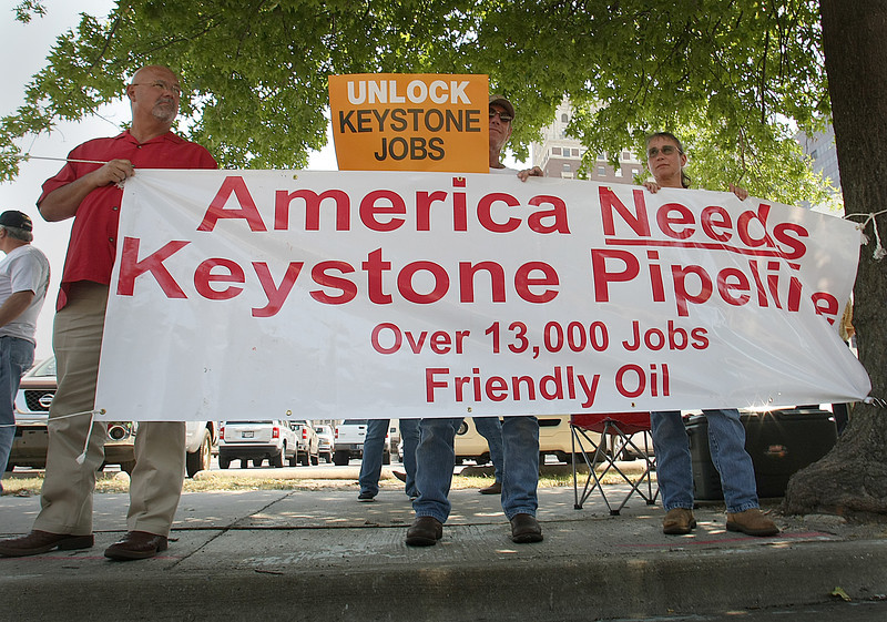 Supporters of the Keystone Pipeline demonstrate in downtown Tulsa.