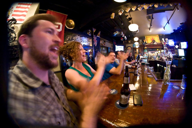 Fans at the Crow Creek Pub in Tulsa cheeer on the Thunder in the last minutes of Tuesday's win against the Miami Heat.