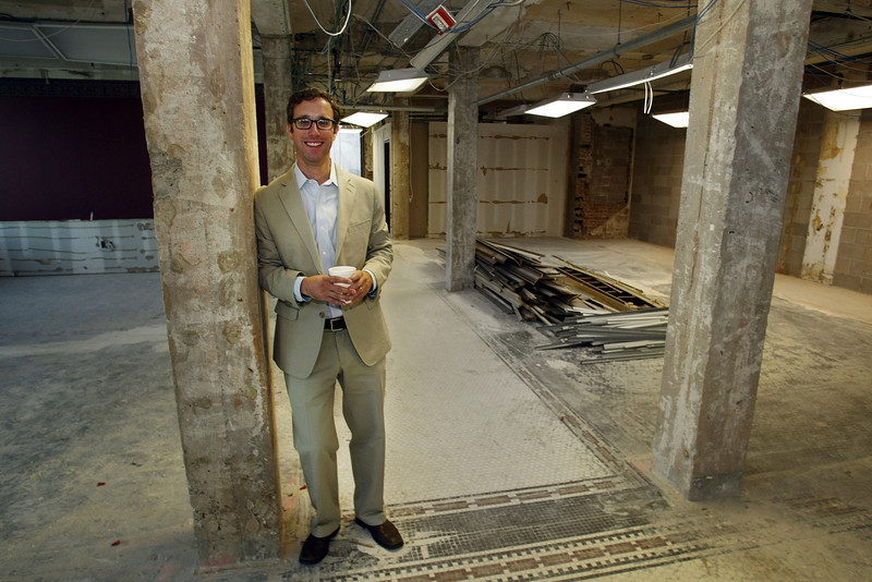 Brian Paschal, Executive Director of Tulsa Young Professionals stands in the Wright Building that is being renovated to house their offices.