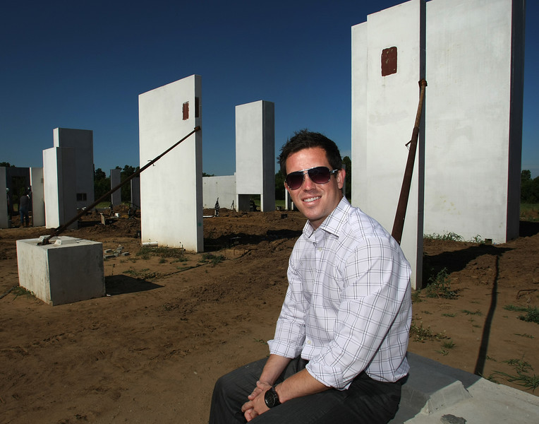 For Elevations<br /> <br /> Weldon Bowman, Architect with WDesign, pauses for a photo in front of the concrete walls of a private residence under construction in Broken Arrow.