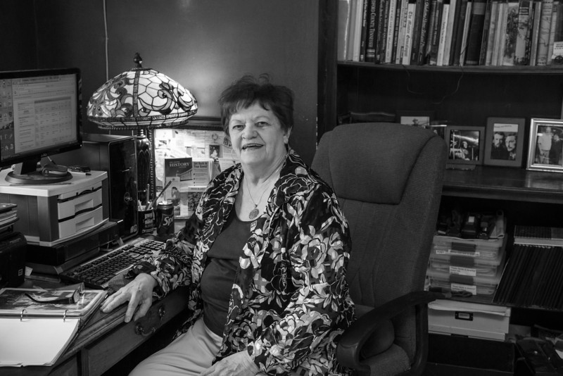 Geneolodist Sharon Smith in her home office near Shawnee.