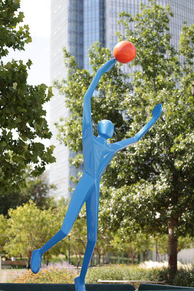 "The scuplture ""Slam Dunk"" by Jim Stewart is on display at the south east corner of the Myriad Gardens."