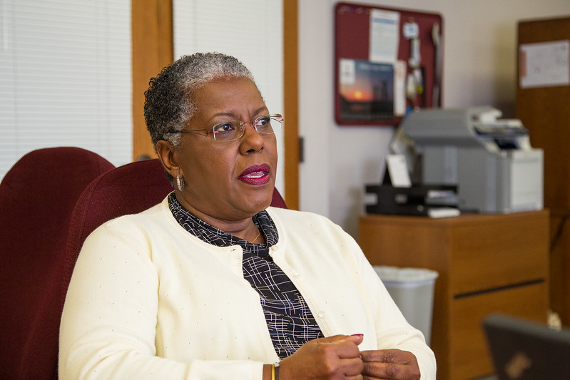 Greta Stewart, director of Oklahoma Primary Care Association, talks to the Journal Record in her office.
