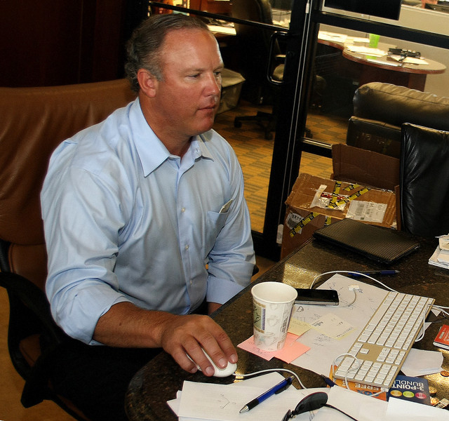 Greg Simmons, CEO/Owner at Simmons Homes, in his Owasso office.
