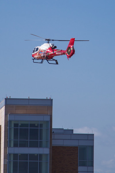 The helicopter at OU's Childrens Hosptial comes in for a landing on the roof.
