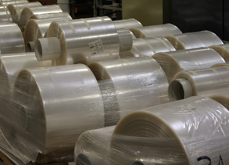 Rolls of plastic manufactured at ExoPack in Catoosa.
