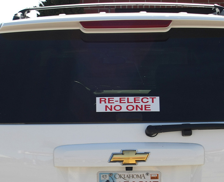 A bumper sticker seen in Tulsa sticker reflects many peoples view of the current state of politics.