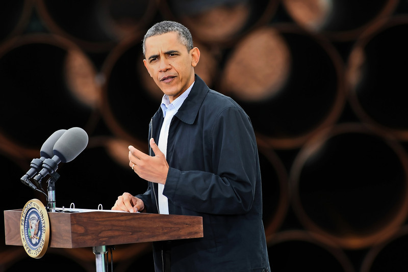 President Barack Obama gives a speech in Cushing defending his energy policy.