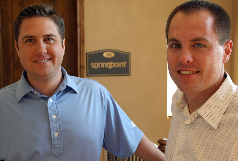 Travis Short, President of SpringPoint and Waylon Lewis, SpringPoint Vice President of staffing pause for a photo at their Tulsa office.  The company is opening a branch office in Bartlesville.