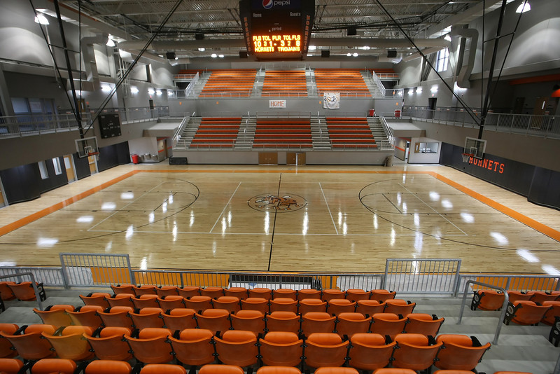 The Nathan Harris Field House at the Booker T Washington High School in Tulsa.