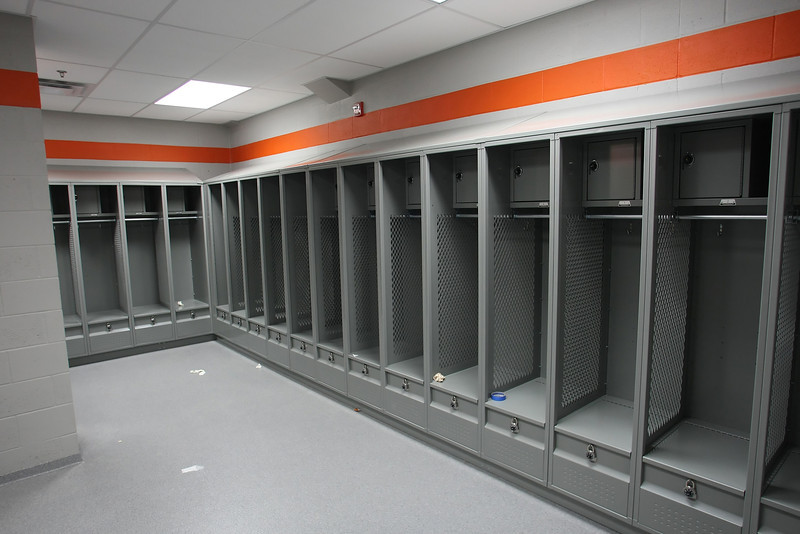 Locker room at the Nathan Harris Field House at the Booker T Washington High School in Tulsa.