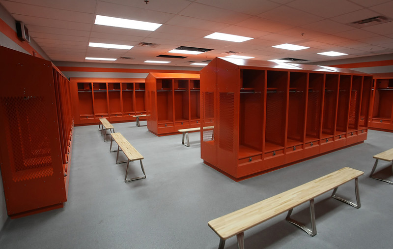 The football teams locker room at the Nathan Harris Field House at the Booker T Washington High School in Tulsa.