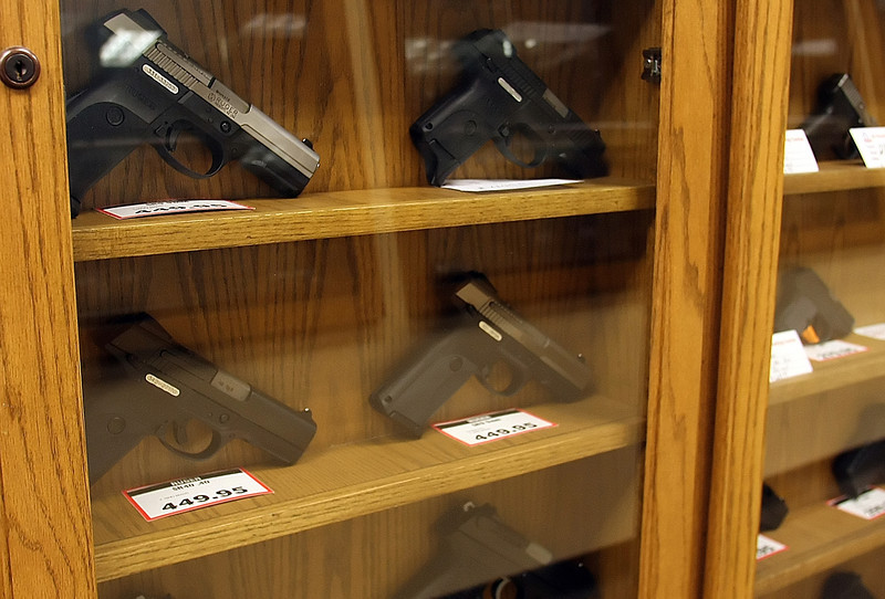 Guns for sale at the C2 Shooting Center in Tulsa.