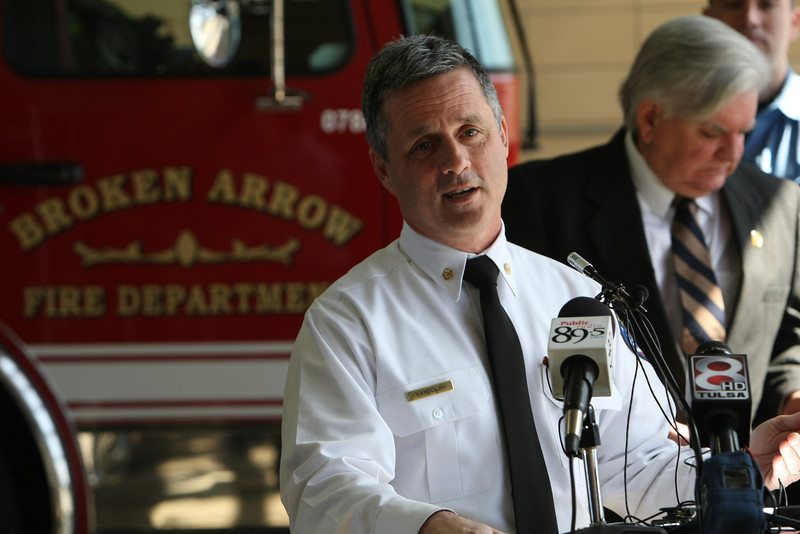 During a press conference Broken Arrow Fire Chief Jeff Vandolah announces a mutual aid agreement between The City of Broken Arrow and Tulsa.