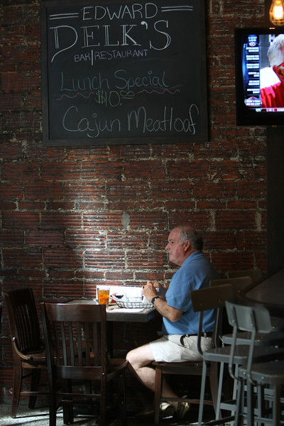 Joe boydston takes his lunch break at downtown Tulsa's Edward Delk's Restaurant.