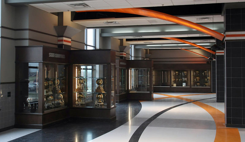 The trophy room at the Nathan Harris Field House at the Booker T Washington High School in Tulsa.