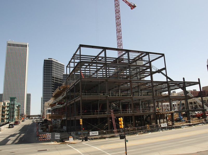 Construction continues on the jOne Place Tower in Downtown Tulsa.