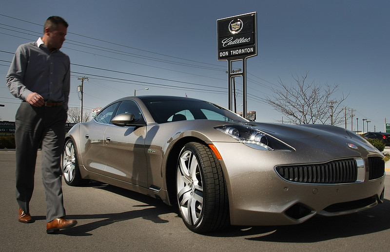 The hybrid Fisker Karma auto at Don Thornton Cadilac in Tulsa.