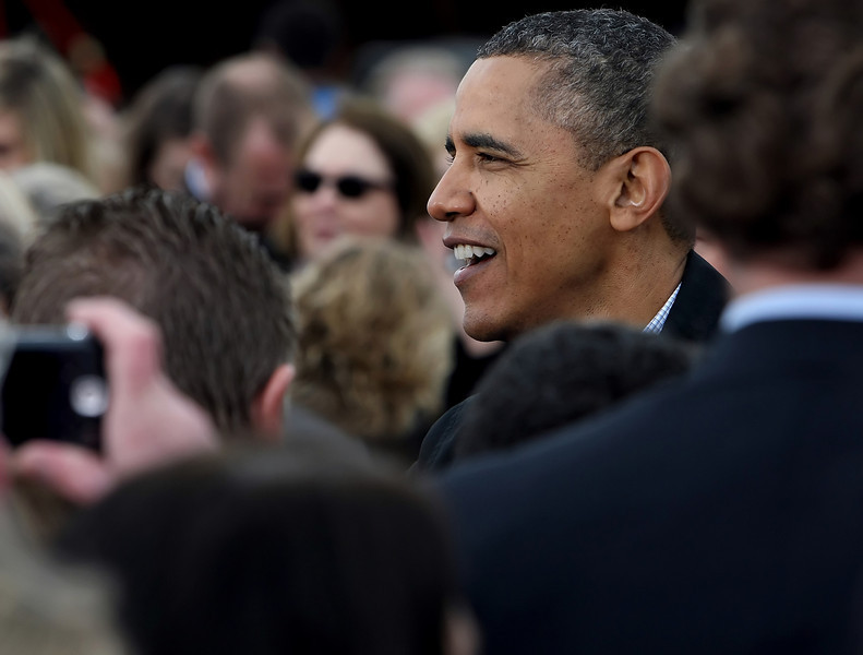 President Barack Obama greets the public after giving a speech in Cushing defending his energy policy.