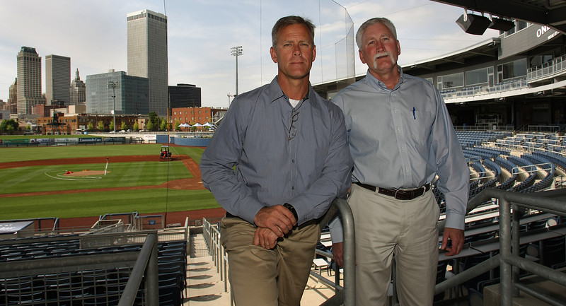 Jeff and Dale Hubbard, Co-Owners of the Tulsa Drillers, pause for a photo at the OneOk Ballpark in downtown Tulsa.