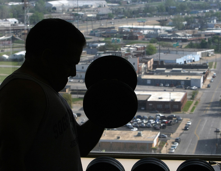 Bob Roberson gets in a lunchtime workout at a downtown Tulsa gym.